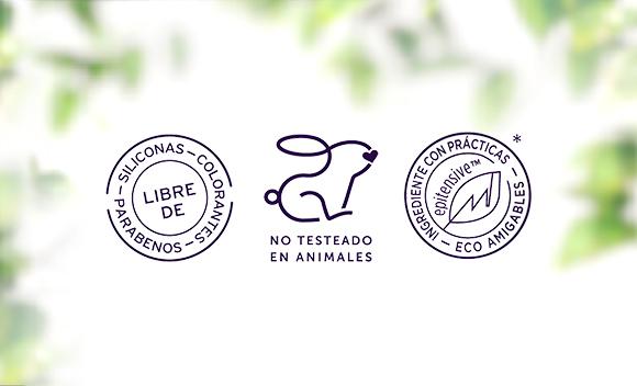 sellos de no testeado en animales ingredientes naturales y linea vegana bio resist